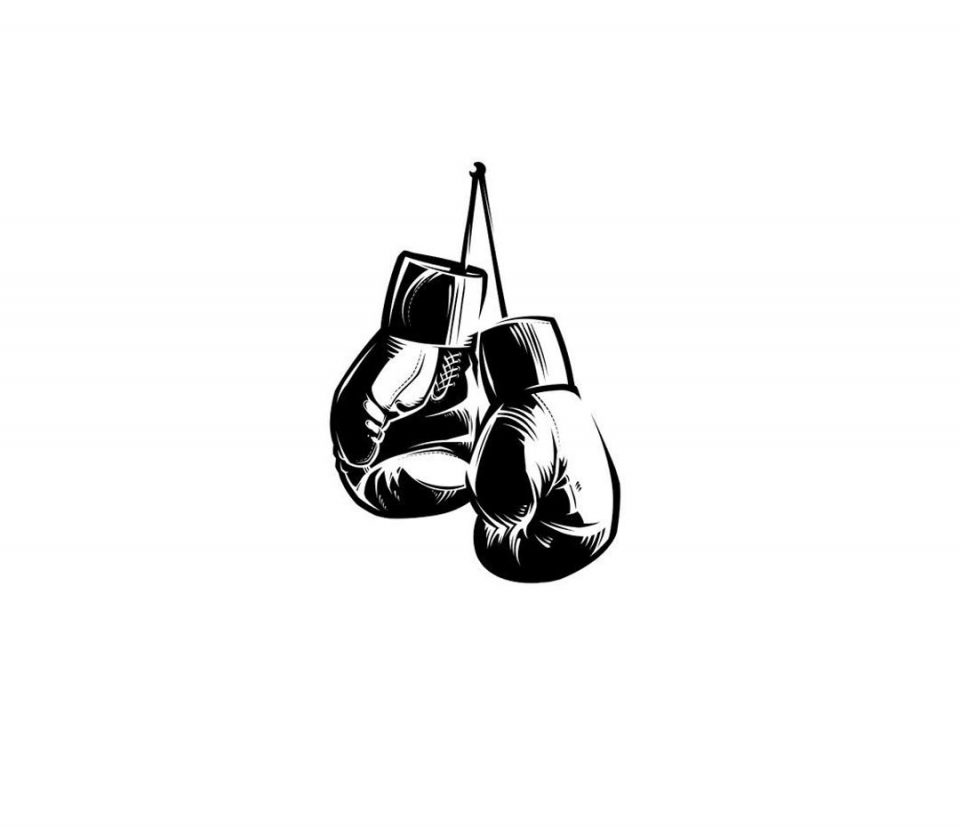 black and white illustration of a pair of boxing gloves
