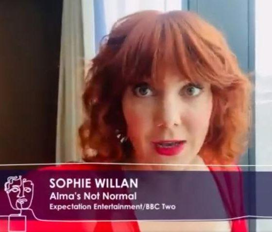 Screengrab of Sophie Willan winning her BAFTA